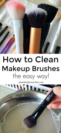 Want to know how to best clean makeup brushes at home? This simple DIY uses only gentle shampoo or dish soap and warm water to clean your brushes fast! Makeup Brush Uses, How To Clean Makeup Brushes, Diy Makeup, Makeup Tips, Makeup Ideas, Makeup Tutorials, Beauty Makeup, How To Grow Eyebrows, Thick Eyebrows