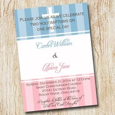 Twin baptism invitation digital file Christening by peachymommy First Communion Invitations, Christening Invitations, Baby Shower Invitations, Party Invitations, Invitation Ideas, Invite, Baby Dedication Invitation, Airplane Baby Shower, Twin Baby Girls