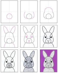 How to Draw a Bunny Face · Art Projects for Kids - Education interests Art Drawings For Kids, Drawing For Kids, Art For Kids, Easter Drawings, Texture Art Projects, Drawing Projects, School Art Projects, Projects For Kids, Lapin Art