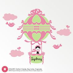 Hot Air Balloon Girl Wall Decal from graphicspaces.com  Colors, styles, cool!