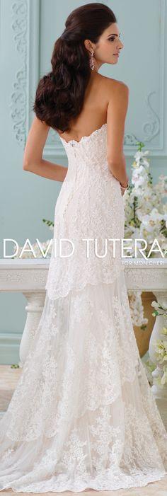 The David Tutera for Mon Cheri Spring 2016 Wedding Gown Collection - Style No. 116212 Eliana #laceweddingdresses