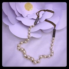 """Vintage Faux Pearl Crystal Necklace Excellent condition, 6"""" gold chain, 1.5"""" glass Crystal embellishment, 19"""" total of graduating sized large pearls then repeat crystals and chain.  Vintage Jewelry Necklaces"""
