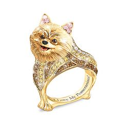 Best In Show Engraved 18K Gold-Plated Pomeranian Ring