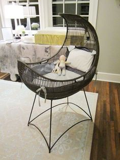 A cute and stylish bassinet that will add a lot to any room, while keeping the baby safe. Baby Kostüm, Our Baby, Baby Furniture, Rattan Furniture, Children Furniture, Furniture Ideas, Everything Baby, Baby Time, Having A Baby