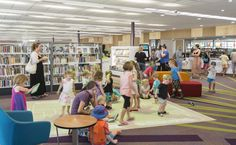 The new Sir Earle Page Library and Education Centre at Grafton. Kids Interactive Floor being used after story time.