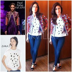 Kareena Kapoor in a monochrome Zara t-shirt with a colorful patterned jacket from designer Payal Pratap's Autumn Winter 2013 collection. And paired her separates with a plain pair of denims from J Brand,. black ankle straps from Gucci and a Harry Winston watch.
