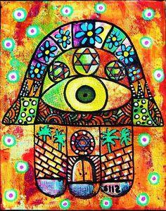 Jerusalem  Vintage Tapastry Judaica Hamsa  by SandraSilberzweigArt