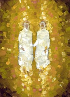 """Two Personages"" by Eliza Croft. Oil on wood, 2017 Saints, Pictures Of Christ, Vision Art, Lds Art, Artwork Images, Jesus Cristo, Sacred Art, Christian Art, Religious Art"