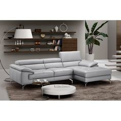 J Liam Gray Premium Italian Leather Sectional Sofa Right Hand Chaise #leathersectionalsofas