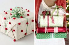 Cute. Cute. Cute. Love the pom poms stuck to this wrapped gift.