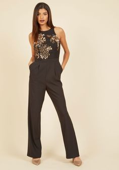 Bold by Definition Jumpsuit. Research 'fearless' in the dictionary, and you'll find a photo of yourself sporting this black jumpsuit! #black #modcloth