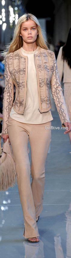 Leather pants. Fringe handbag. Nude palette. Love this #modwestern elegance.   Salvatore Ferragamo Pre Spring 2013 - business casual