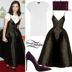 Lorde arrived at the Clive Davis Pre-Grammy Party last night wearing wearing a Vince Boy Tee ($75.00), an Alex Perry Reid Lurex Bikini Pleat Midi ($1,680.00), a Judith Leiber Velvet Box Bag ($1,695.00 – similar style), Neil Lane Jewelry (Not available online) and LeSilla Velvet Pointed Pumps (€258,00). You can find similar pumps for less at Nordstrom Rack ($26.97).