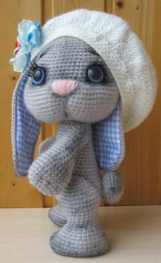 Here is a detailed crochet pattern of my Bunny in beret. Crochet Beret, Crochet Rabbit, Crochet Doll Pattern, Crochet Dolls, Crochet Animal Patterns, Stuffed Animal Patterns, Crochet Animals, Amigurumi Patterns, Homemade Dolls
