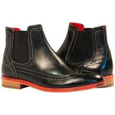 Giuseppe Black Nappa  Leather Wing Tip Chelsea Beetle Boots  from PaoloShoes.com