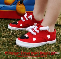 LOVE Minnie Mouse shoes - Hand painted mouse inspired sneakers - red shoes with white hears for baby and toddler - Valentine shoes. $25.00, via Etsy.