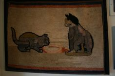 THE BEST ANTIQUE CAT HOOKED RUG EVER. GREAT EARLY 19C PRIMITIVE FOLK ART   Sold  Ebay   365.00.      ~♥~