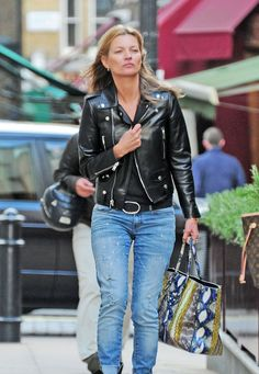 Kate Moss off duty wearing Saint Laurent Biker jacket