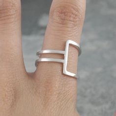 Geometric Silver Square Wire Ring