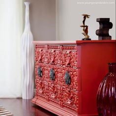 Sideboard given new life painted red