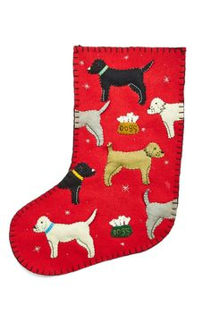 new world arts felt applique Dog Christmas Stocking at Nordstrom