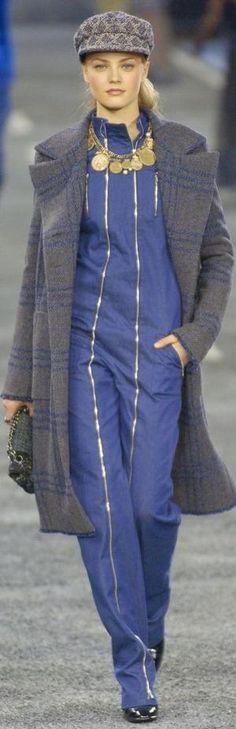 Chanel ~ Fall Jumpsuit w Top Coat, Blue