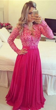 Long Sleeve Fuchsia Pearls Evening Party Dress 2016, Perfect Prom Gown. www.27dress.com