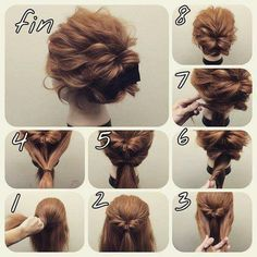 Messy-look bun which might hold my thick/layered hair in!! Easy Bun Hairstyles, Amazing Hairstyles, Hairstyles 2018, Evening Hairstyles, Casual Hairstyles, Indian Hairstyles, Easy Formal Hairstyles, Layered Hairstyles, School Hairstyles