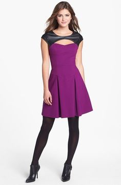 Betsey Johnson Faux Leather Trim Ponte Fit & Flare Dress (Online Only) available at #Nordstrom I love this dress,,