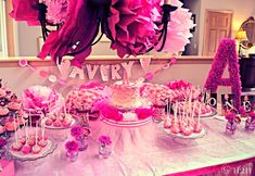 Pink, Ruffles, Feathers, oh my! A dessert table fit for a pint-sized princess. Styling by Hostess to the Host, desserts by Callahan's Confections