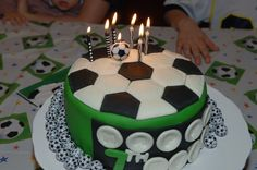 Soccer cake Soccer Cupcakes, Soccer Cake, Celebration Cakes, Birthday Cakes, Football, Boys, Desserts, Pancakes, Pastries