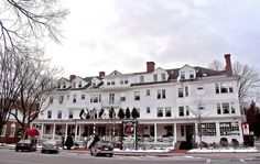 "The Red Lion Inn in Stockbridge, Mass., is a cozy country inn with a winter feeling like something out of Norman Rockwell's art or ""Little Women."""