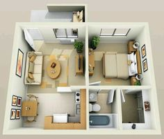 14 Small Apartment Ideas for Comfortable Living in Small Space # design . Studio Apartment Floor Plans, Studio Apartment Layout, Apartment Design, Apartment Ideas, 1 Bedroom Apartment, One Bedroom Apartments, Small Apartment Plans, Small Apartment Layout, Studio Floor Plans