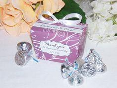Purple Favor Boxes, Personalized Favor Box,  Chocolate Favor Box, Lilac