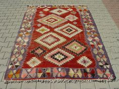 VINTAGE Turkish Kilim Rug Carpet Handwoven by TurkishCraftsArts