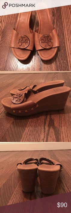"Tory Burch wedges size 10, gently used This pair of authentic Tory Burch wedges is size 10. They are tan leather with emblem on front and wooden wedge heel. 3"" heel and 1 1/4"" platform. In great shape, just some gentle wear. Tory Burch Shoes Wedges"