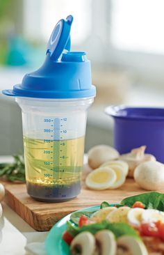 All-In-One Shaker. So convenient! Seal doubles as a measuring cup with markings inside. Specially deigned with drip-less seal. Ideal for making, mixing, serving and storing dressings and marinades.