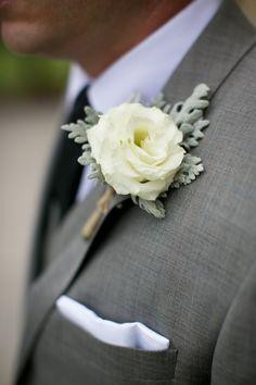 white lisianthus bout w/ dusty miller Elegant Wedding, Floral Wedding, Wedding Bouquets, Wedding Flowers, Buttonhole Flowers, Groom Buttonholes, Friend Wedding, Our Wedding, Dream Wedding