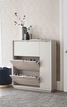 home decor Next Mode Shoe Storage - Grey Increase Your Casual Wear Flair Let's put a way the flip-fl Shoe Storage Grey, Shoe Storage Cupboard, Hallway Shoe Storage, Shoe Cabinet, Storage Boxes, Storage For Shoes, Shoe Storage Design, Shop Storage, Next Mode