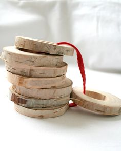 Rustic napkin rings from light birch wood - set of 8 - eco friendly home decor. €12.50, via Etsy.