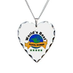 World's Most Awesome Postal Worker Necklace Heart Charm