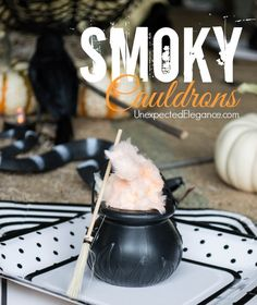 10 Minute Halloween Crafts   Smoky Cauldrons..SUPER easy and quick. Perfect for a Halloween party! #halloween #halloweencraft #party
