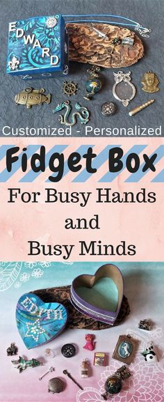 Fidget Box - filled with 15 items, perfect for any age and gender, as it is very versatile and open-ended. Most of the items inside can be used as jewelry (pendants, charms, zipper charms, etc.) and each kit comes with one high-quality waxed cotton cord. The items are tactile and most are interactive, such as the spinning globe, working compass, magnifying glass, padlock and keys, etc. #etsy #madetoorder #handmade #adhd #anxiety #travel #waiting #ad Activities For Autistic Children, Educational Activities For Kids, Adhd Kids, Learning Toys, Learning Activities, Preschool Activities, Activities For One Year Olds, Rainy Day Activities, Kits For Kids