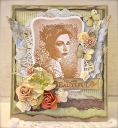 Lovely stamps from Stempelglede and papers from Pion You Are Beautiful, Color Mixing, Cardmaking, Projects To Try, Shabby Chic, Paper Crafts, Tapestry, Mixed Media, Stamps
