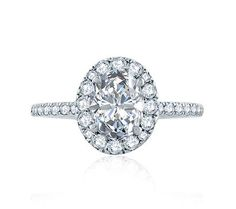 A.JAFFE Oval Halo Engagement Ring with Belted Gallery Detail. Style ME2168Q.