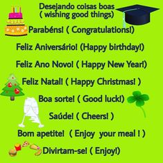 """Portuguese Station on Instagram: """"Here are some common Portuguese expressions and good wishes ! Listen to the pronunciation in my previous video and practice saying them   .…"""" Learn Brazilian Portuguese, Happy New, Wish, Congratulations, Happy Birthday, Good Things, Sayings, Learning, Instagram"""
