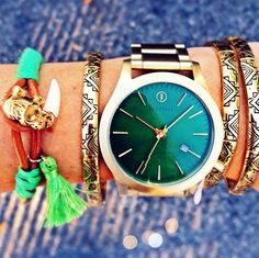#4thandOcean wrist game so froze, it still feels like winter in the spring⌚️❄️ This new gold Electric watch with emerald face ($250) will accentuate any outfit for all occasions! Bracelets starting at $8.99, all available in store! Grab yours before time runs out! #wristgame #Electric⚡️