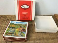 Vintage Pimpernel Acrylic Coasters Folk Art Farm Pasture Original Box Set of 6 #Pimpernel #FolkArt #AllOccasions