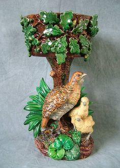 Hugo Lonitz Majolica Partridge Planter 1880 depicting a Partridge and Chicks under an Oak Tree