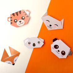 Aujourd'hui, on leur a préparé un petit atelier très simple : des origamis. Opération pliage pour découvrir des animaux trop mignons : panda, renard, koala